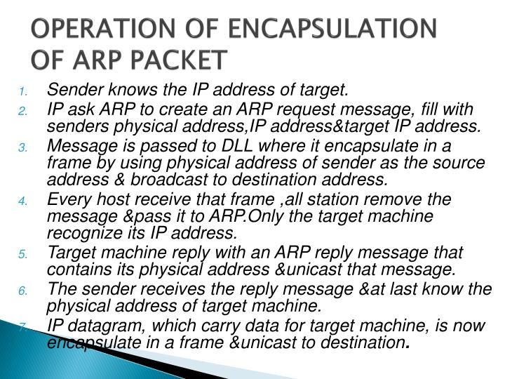 OPERATION OF ENCAPSULATION OF ARP PACKET