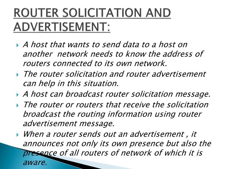 ROUTER SOLICITATION AND ADVERTISEMENT: