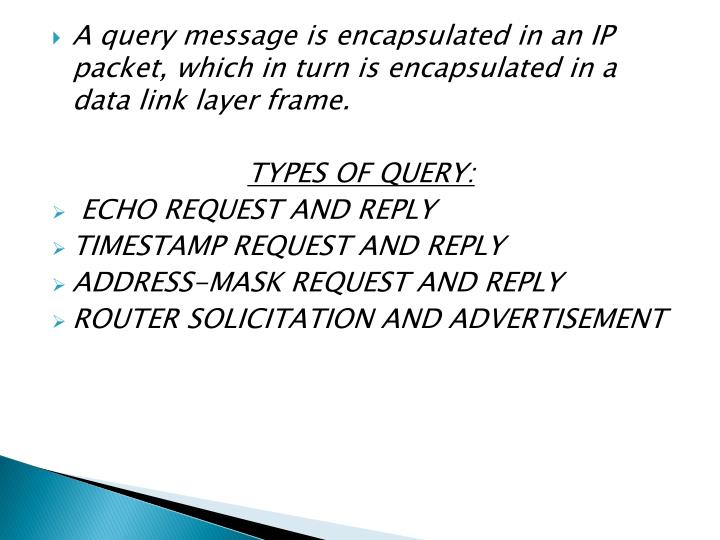 A query message is encapsulated in an IP packet, which in turn is encapsulated in a data link layer frame.