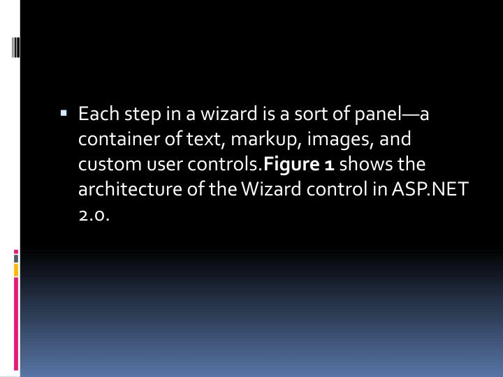 Each step in a wizard is a sort of panel—a container of text, markup, images, and custom user controls.