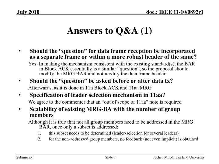 Answers to Q&A (1)