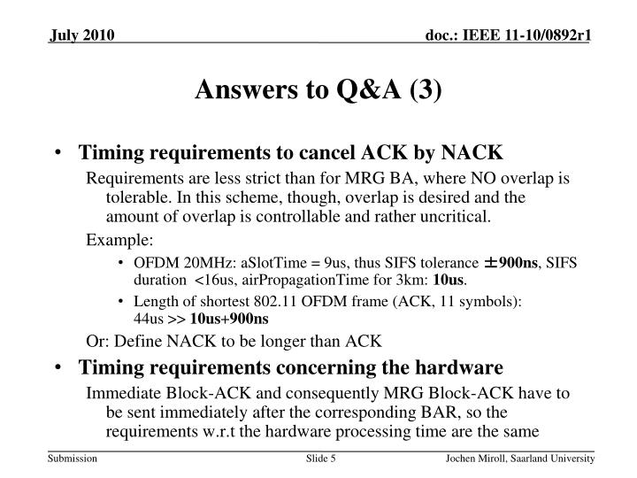 Answers to Q&A (3)