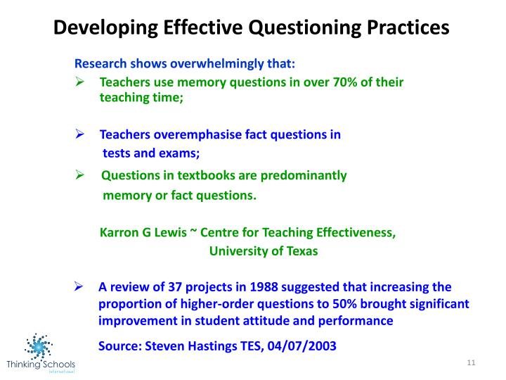Developing Effective Questioning Practices