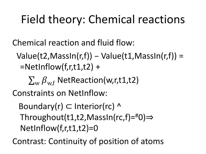 Field theory: Chemical reactions