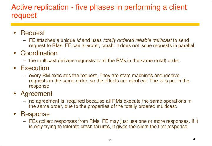 Active replication - five phases in performing a client request