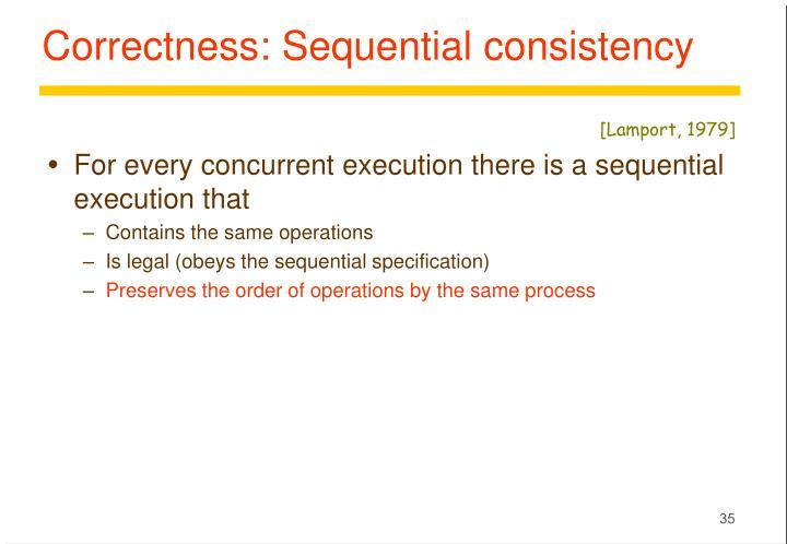 Correctness: Sequential consistency