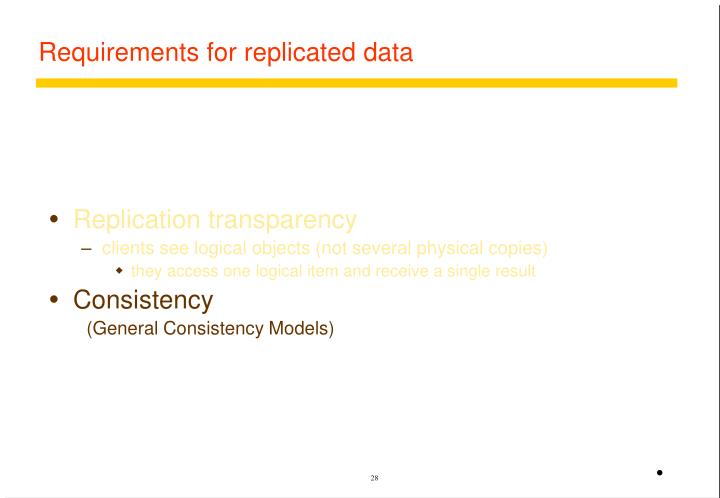 Requirements for replicated data