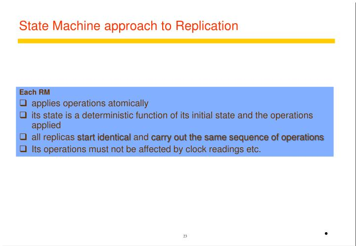 State Machine approach to Replication