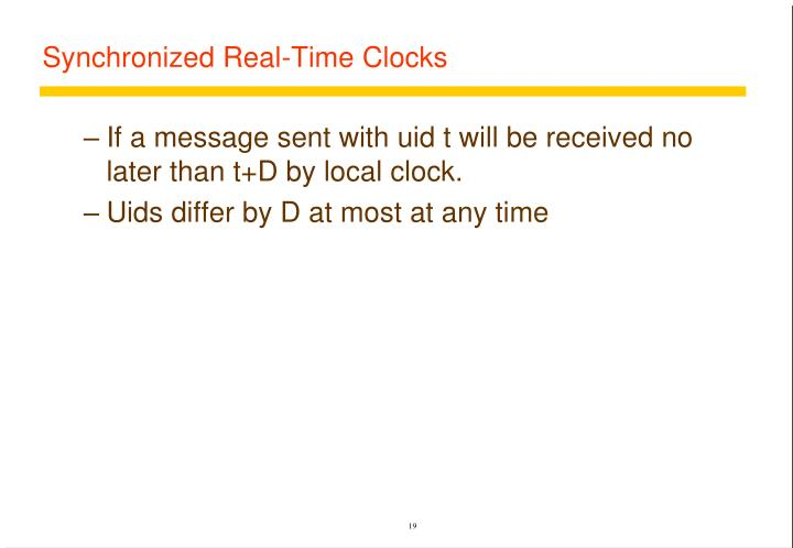 Synchronized Real-Time Clocks