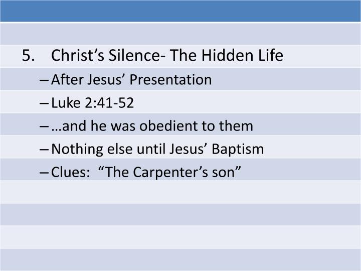 Christ's Silence- The Hidden Life