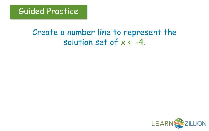 Create a number line to represent the solution set of
