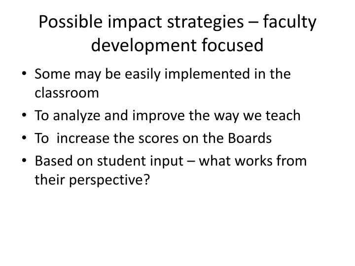 Possible impact strategies – faculty development focused