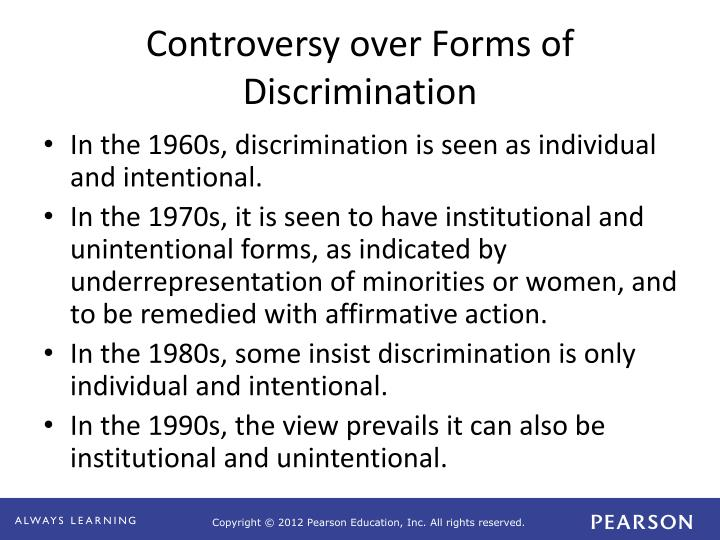 the power of unintentional discrimination Start studying human resource management chapter 2 learn vocabulary,  duke power required its coal handlers to be high  refers to unintentional discrimination.