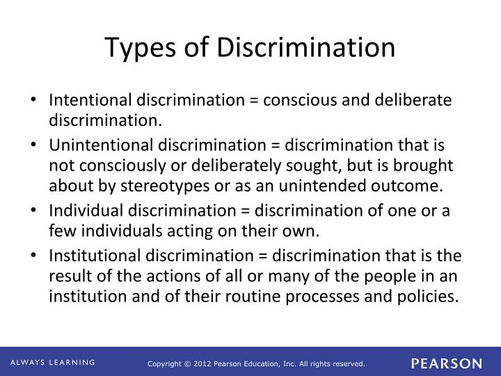Discrimination types and a sexual discrimination case