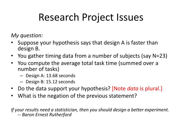 Research Project Issues