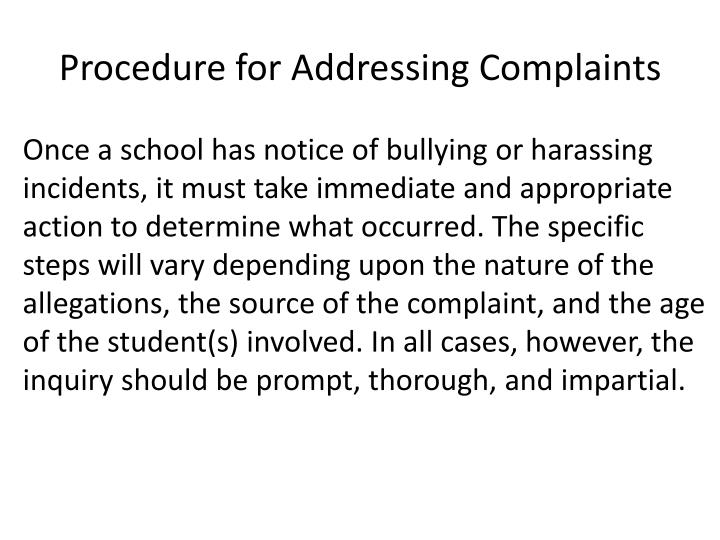 Procedure for Addressing Complaints