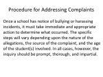 procedure for addressing complaints