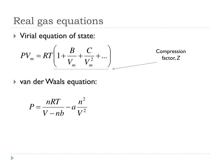 Real gas equations