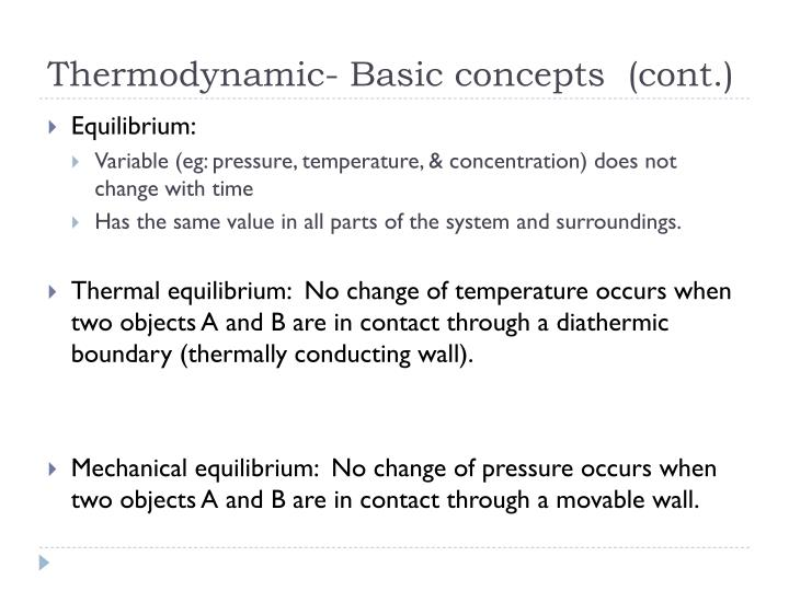Thermodynamic basic concepts cont