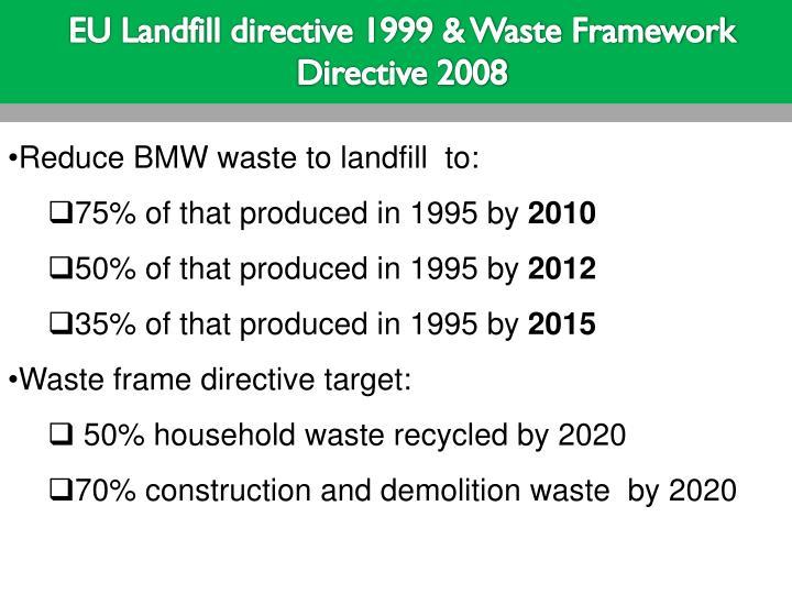 EU Landfill directive 1999 & Waste Framework Directive 2008