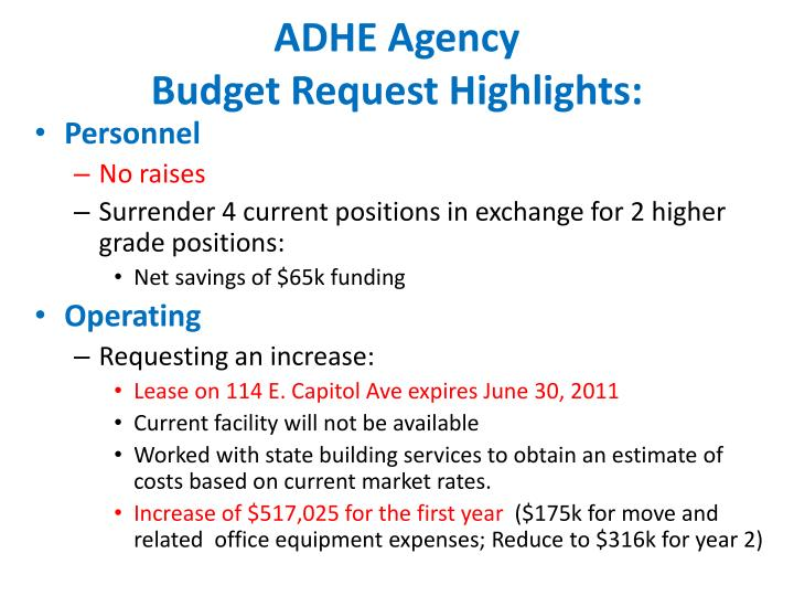 Adhe agency budget request highlights