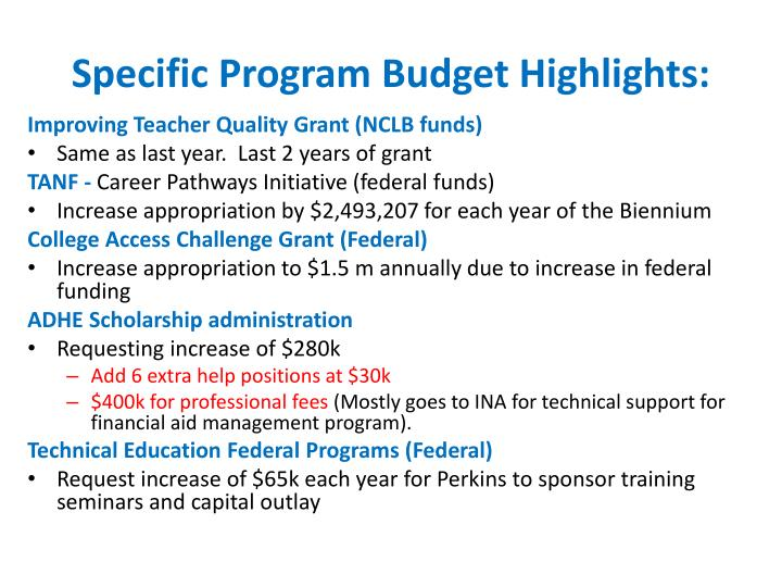 Specific Program Budget Highlights: