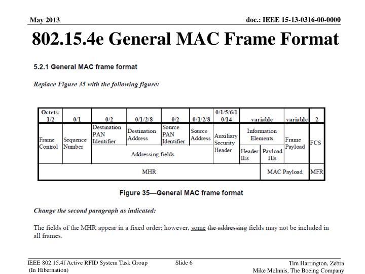 802.15.4e General MAC Frame Format