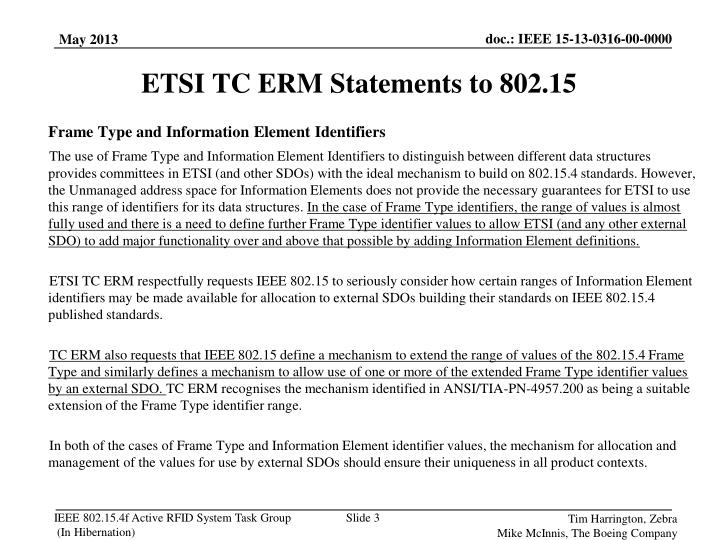 Etsi tc erm statements to 802 15