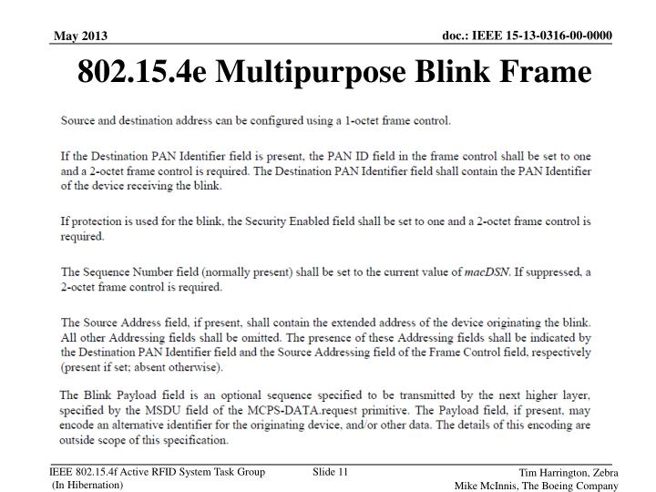 802.15.4e Multipurpose Blink Frame