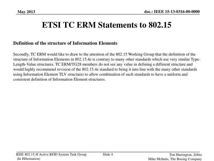 ETSI TC ERM Statements to 802.15