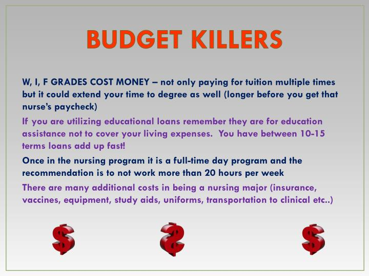 BUDGET KILLERS