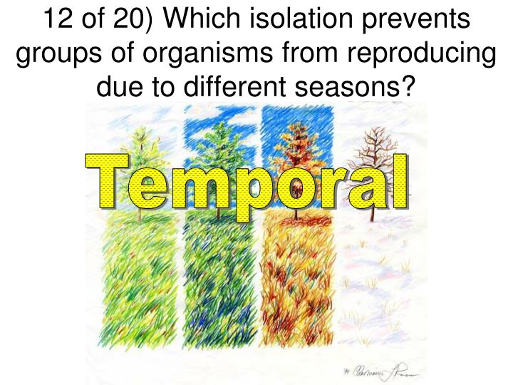 12 of 20) Which isolation prevents groups of organisms from reproducing due to different seasons?