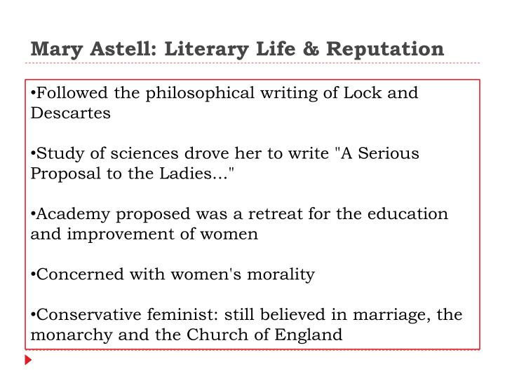 Mary astell literary life reputation