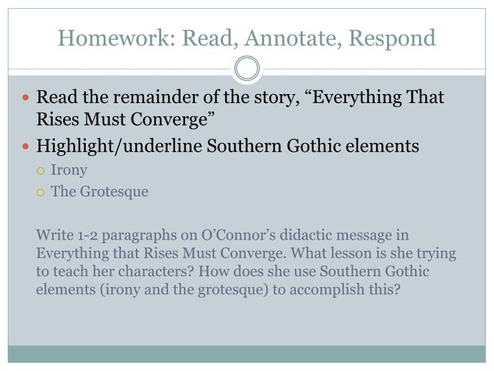Homework: Read, Annotate, Respond