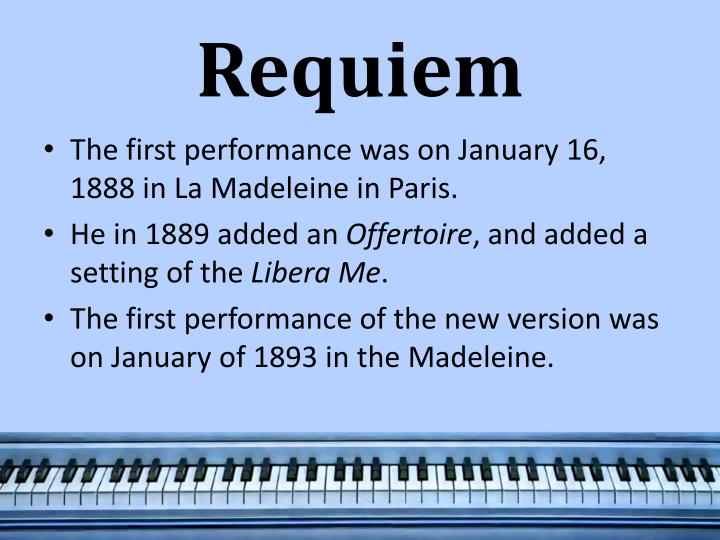 gabriel urbain faure and his requiem mass essay Gabriel fauré composed his requiem in d minor , op 48, between 1887 and 1890 the choral - orchestral setting of the shortened catholic mass for the dead in latin.