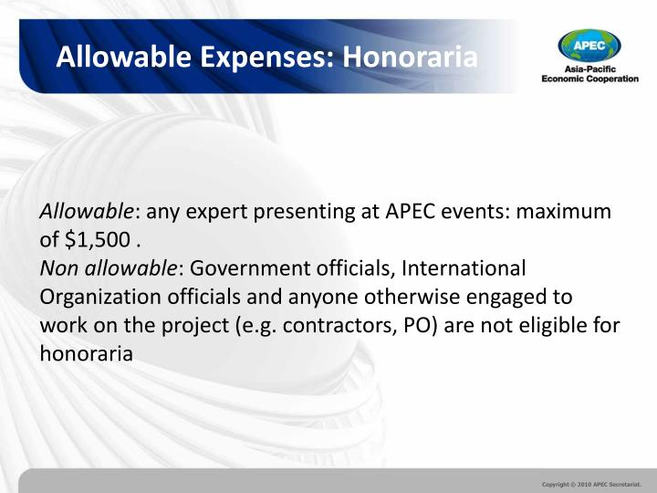 Allowable Expenses: Honoraria