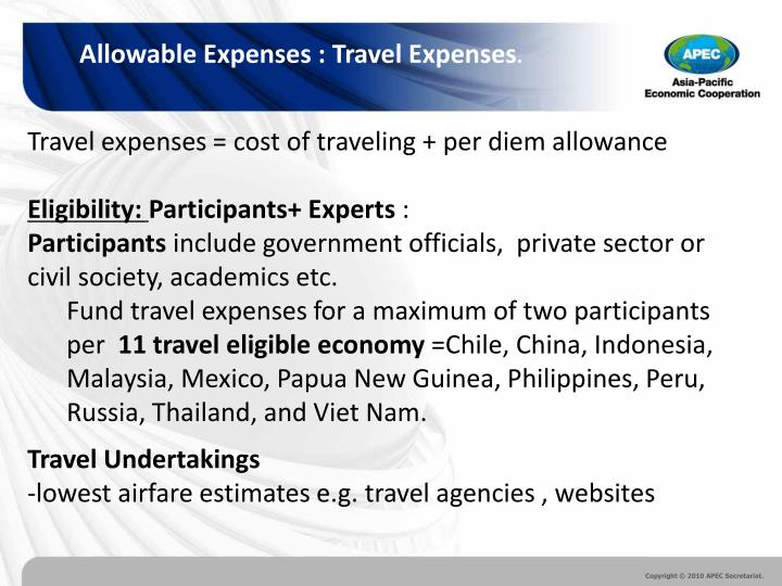 Allowable Expenses : Travel Expenses