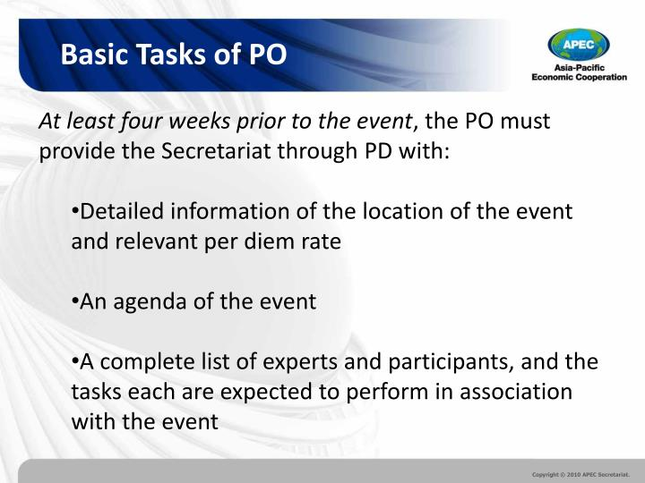 Basic Tasks of PO
