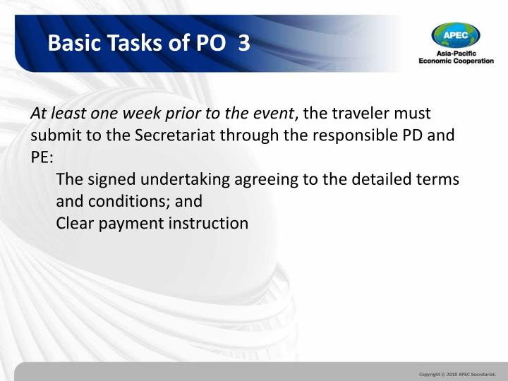 Basic Tasks of PO  3