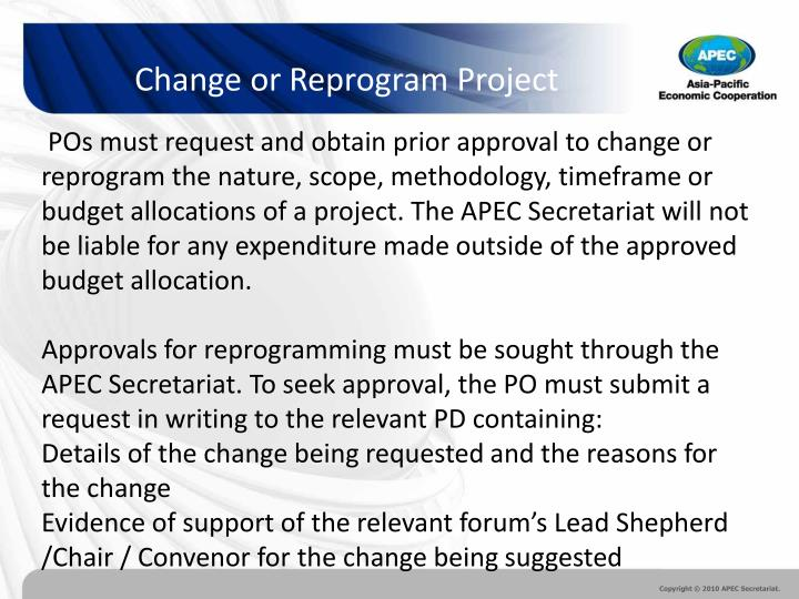 Change or Reprogram Project