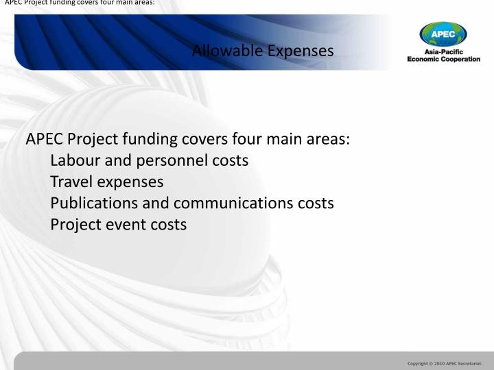 APEC Project funding covers four main areas:
