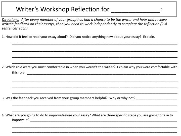 Writer's Workshop Reflection for ______________:
