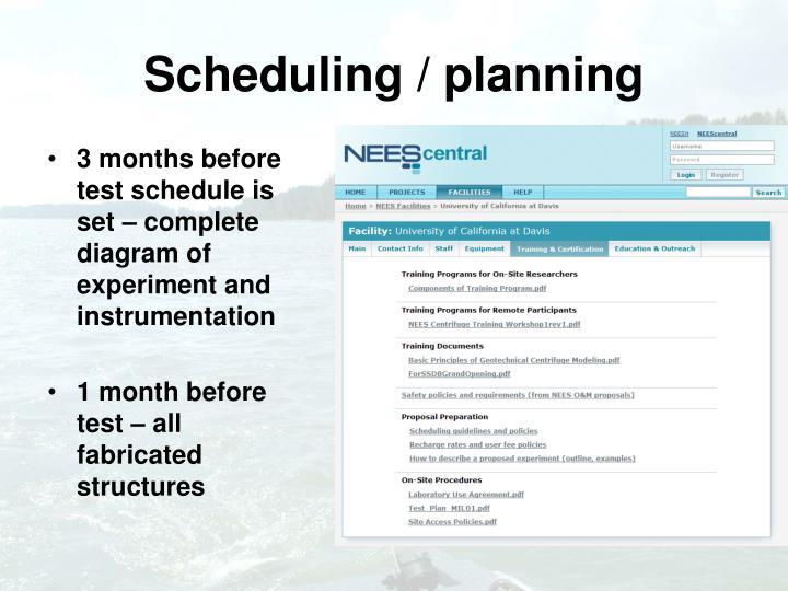 Scheduling / planning
