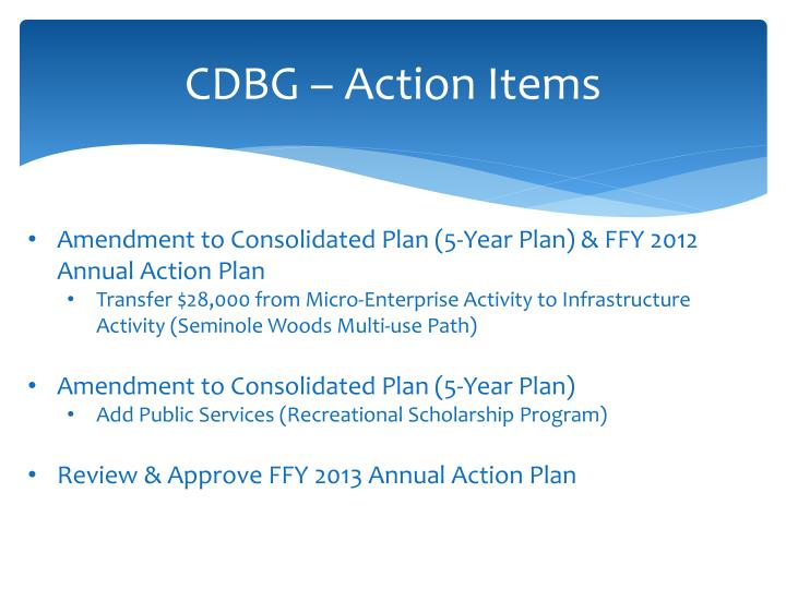 CDBG – Action Items