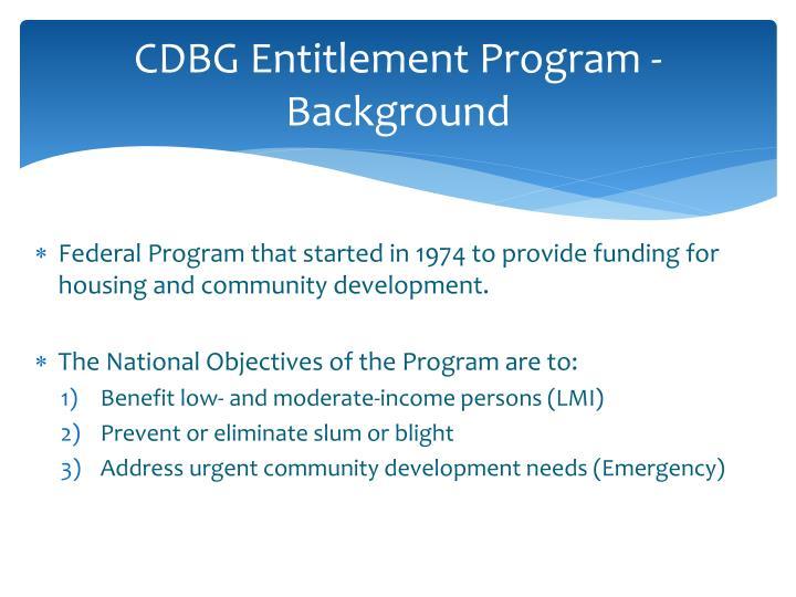 CDBG Entitlement Program -Background