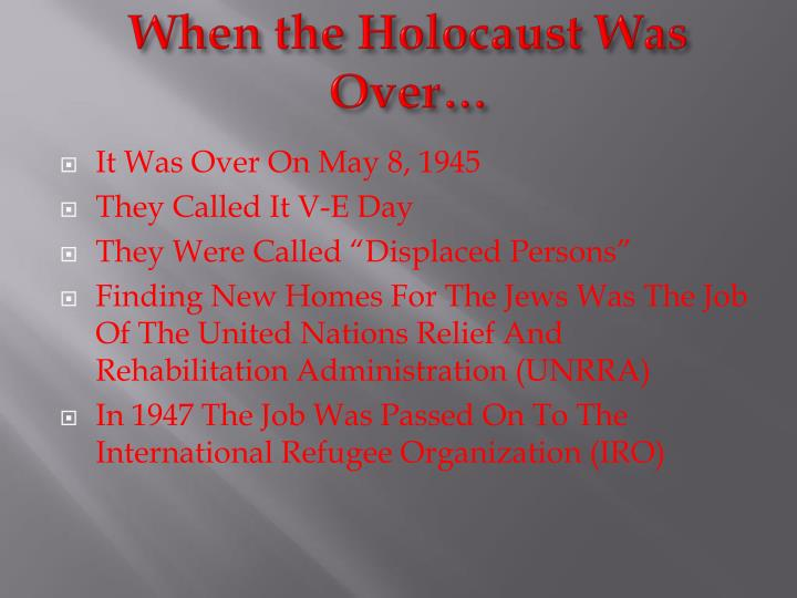 When the Holocaust Was Over…