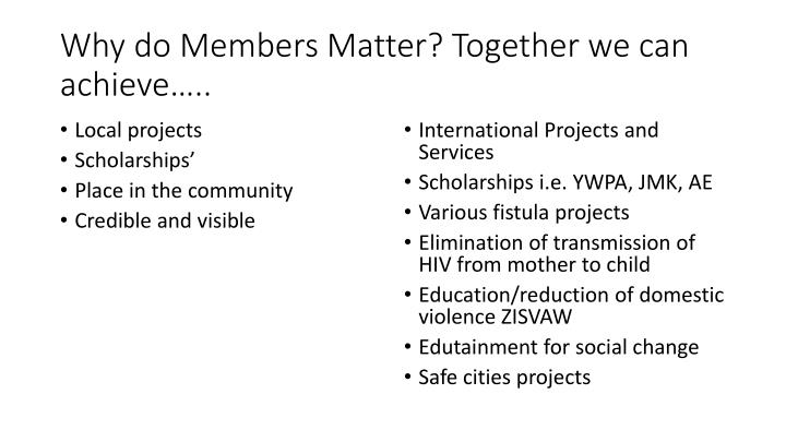 Why do Members Matter? Together we can achieve…..