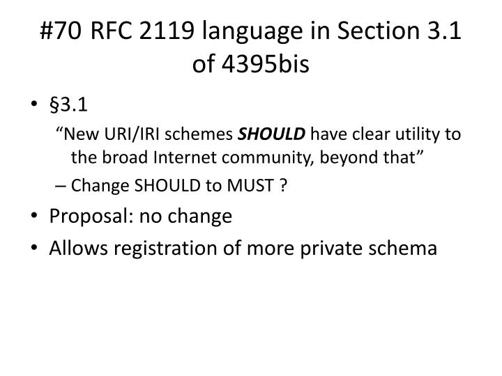 #70 RFC 2119 language in Section 3.1 of 4395bis