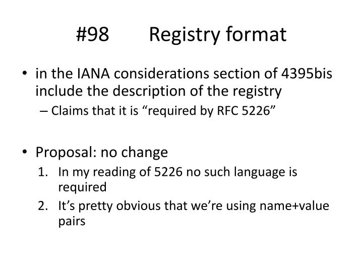 #98 Registry format