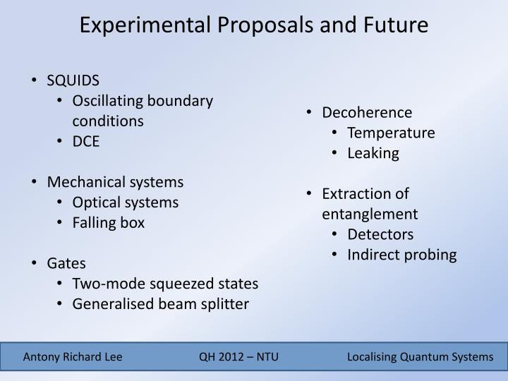 Experimental Proposals and Future